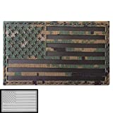 Big 3x5 MARPAT Digital Woodland Infrared IR USA American Flag Tactical Morale Touch Fastener Patch