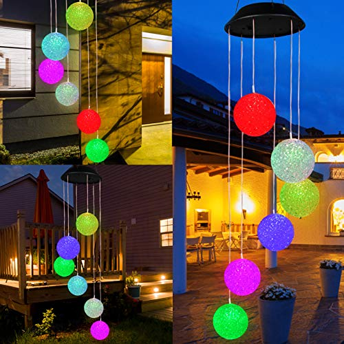 YHmall Crystal Ball Wind Chime, LED Solar Wind Chimes for Outside Lights Decorative Romantic Energy Saving and Waterproof Hanging Wind Chimes for Patio Yard Garden Home