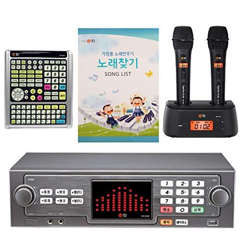 TJ TKR-365HK Karaoke Machine Korean Karaoke Singing Machine 1TB HDD System + TMW-100 Wireless Microphone 2P + Keyboard Controller + Song Book Set (Black)