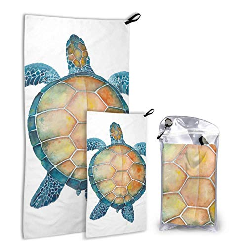 LIANGWE Carino Enorme Tartaruga di Mare 2 Pacco Asciugamano in Microfibra per Bambini Telo da Mare per Piscina Set Asciugatura Rapida Migliore per Palestra Viaggi Zaino in Spalla Yoga Fitnes