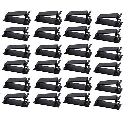 Organizador Cables,24 PCS Soporte de Cables Autoadhesivo 3M Clips de Administración de Cables Abrazaderas Adhesivas de Alambre para TV PC Laptop Debajo del Escritorio Oficina Casa Negro