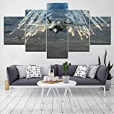 Rudxa Lienzo Wall Art Fighter Fire Landscape Poster Set Picture for Living Room Home Decor Painting -5 Piezas sin Marco