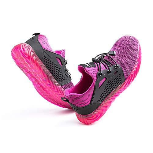 [Hitmars] 安全靴 メンズ あんぜん靴 レディース 作業靴 ふみぬき防止 スニ一カ一 軽量 むれない 軽業 鉄芯入り セーフティーシューズ おしゃれ 耐油性 耐滑 鋼先芯 工事現場 レッド 23.5�p