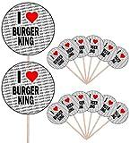 I Love Burger King – Alimento para fiestas – Cupcakes – Palillos – Banderas de alimentos – Decoraciones de pie (14 unidades)
