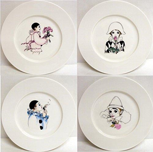 Pierrot et Arlequin Lot de 4 assiettes en porcelaine fine 20,3 cm 20 cm Assiettes décorée à la main au Royaume-Uni