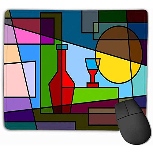 Grote muismat muismat abstractie partij abstract patroon fles wijn mooie rechthoek rubber muismat 25 x 30 cm