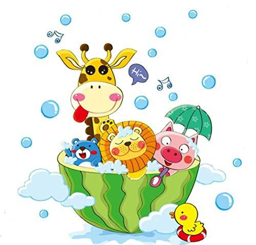 Schattige dieren in het bad Douche muurstickers Badkamer bubbels Stickers voor kinderkamer Babykamer Woondecoratie Art Decals Decor