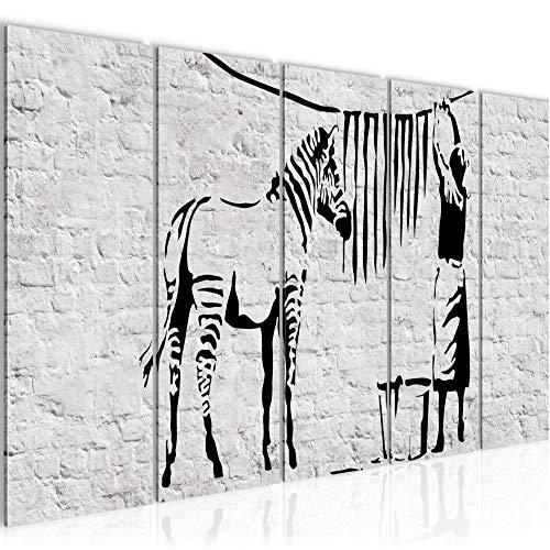 Bilder Washing Zebra Banksy Wandbild 150 x 60 cm Vlies Leinwand Bild XXL Format Wandbilder Wohnzimmer Wohnung Deko Kunstdrucke Grau 5 Teilig - MADE IN GERMANY - Fertig zum Aufhängen 303256a