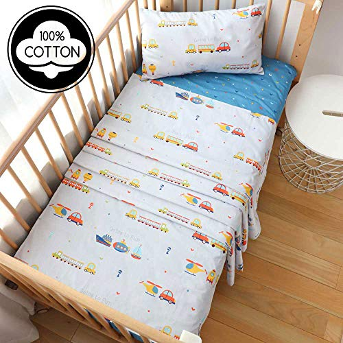 3 Piece 100% Cotton Toddler Sheet Pillowcase Set for Boys and Girls,Include Fitted Sheet,Top Sheet and Envelope Pillowcase,Cute Cartoon Pattern,Soft Skin-Friendly Breathable(Car)