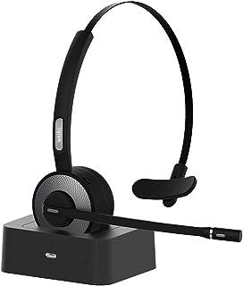 Willful Cuffie Bluetooth con Microfono per PC Cellulare Android iOS Cuffie Senza Fili Wireless Mono On Ear Muto Multipoint per Telefono Ufficio Videoconferenza Call Center Skype Microsoft Teams Zoom