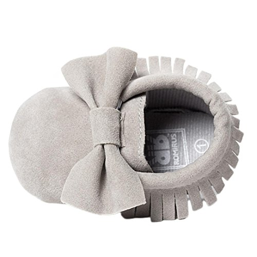 Babyschuhe Longra Baby Kinderbett Fransen Pailletten Schuhe Kleinkind weiche Sohle Turnschuhe Freizeitschuhe Lauflernschuhe(0~18 Monate) (12cm 3~6 Month, Grey)