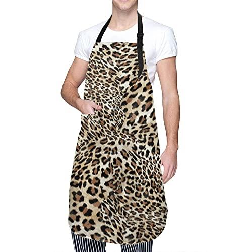 Delantal ajustable para colgar en el cuello, impermeable, diseño de flores de cerezo, vestido de cocina para hombres y mujeres con 2 bolsillos centrales