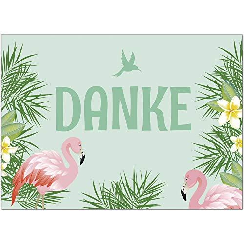 15 x Dankeskarten mit Umschlag - Flamingo - Danksagungskarten, Danke sagen, nach Hochzeit, Geburt, Baby, Taufe, Geburtstag, Kommunion, Konfirmation, Jugendweihe