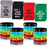 Hicarer 48 Pieces Video Game Party Favors 24 Pieces Gaming Party Bags with Drawstring and 24 Pieces Gamer Bracelets Wristbands Decorations Set for Boys Girls Birthday Game Themed Party Supplies