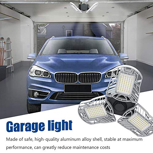 LED Garage Lights E26/E27 60W Panels Adjustable Trilights Garage Lights 6000lm Ceiling Light for Workshop Warehouse (No Motion Activate) 5