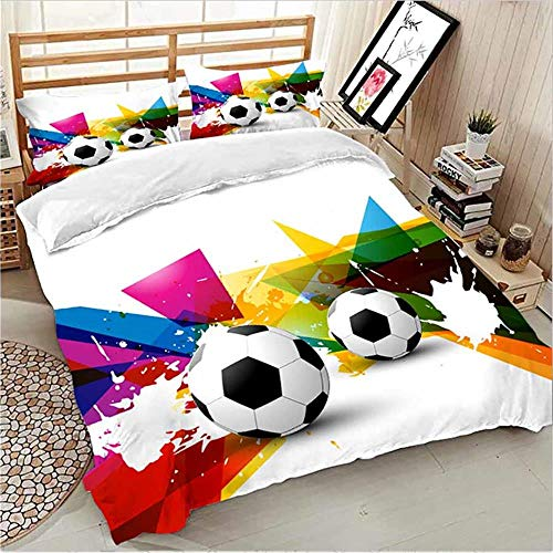 MENGBB Duvet Cover Set 3D Effect Football sports sports painted 135x200cm Total 4 Size, give away pillowcase, Duvet Cover single bed with 2 Pillow Cases 50x75cm Microfiber Bedding Quilt Cover Set with