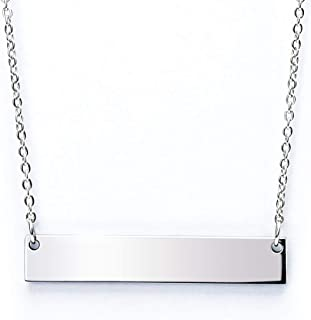 Best Caramel Personalized Custom Stainless Steel Horizontal Bar Necklace Pendant 5 Colors with Chain Reviews