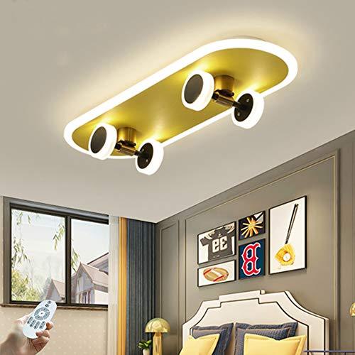 LED Skateboard Deckenlampe Moderne Deckenleuchte Dimmbar Mit Fernbedienung Deckenlicht 32W Acryl Jungen Und Mädchen Schlafzimmer Kinderzimmer Wohnzimmer Beleuchtung L60cm