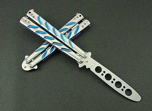 VAGANY Qualität Schmetterlingsmesser Praxis Trainer Messer-Werkzeug (Dull Knife) (blau)
