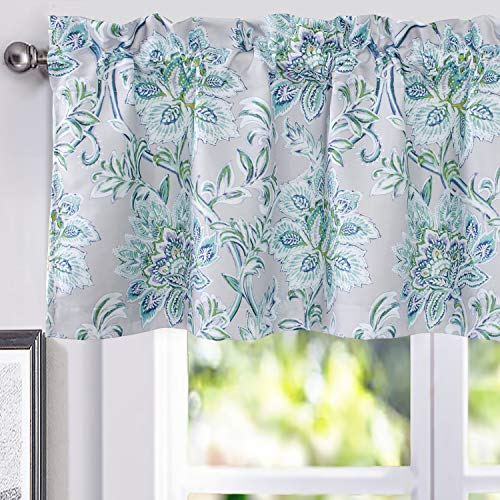 DriftAway Alyssa Jacobean Elegant Floral Leaves Pattern Thermal Insulated Blackout Lined Rod Pocket Window Curtain Valance for Kitchen Café 52 Inch by 18 Inch Plus 2 Inch Header Gray