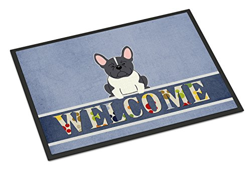 Caroline's Treasures BB5593MAT French Bulldog Black White Welcome Indoor or Outdoor Mat 18x27, 18H X 27W, Multicolor