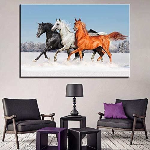LOIUYT Pintura impresión lienzo pintura sala de estar decoración del hogar 1 carrera de caballos imagen de puesta de sol arte colgante de pared unicornio pegaso animal cartel 50x75cm