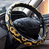 Dotesy Flower Car Steering Wheel Cover Fiber Leather Anti-Slip...