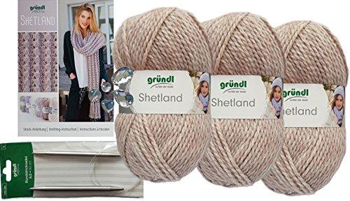Gründl 3x100g Shetland Wolle SB Pack inkl. Strickanleitung Schal mit Lochmuster aus 80% Polyacryl, 20% Wolle + 1 Rundstricknadeln mit Seil + 3 Strasssteine zum aufnähen (06 Beige)