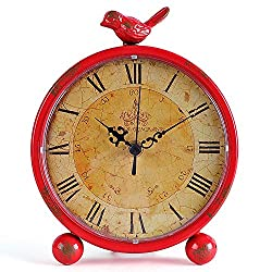 Konigswerk Table Desk Clocks, Retro Tabletop 8 Inches Metal Vintage Clock Battery Operated with Bird ( Red)