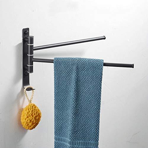 Beelee Swing out Towel Rail Rack, Barra de Toalla de Acero Inoxidable 2-Bar Brazo Plegable Swivel Hanger Baño Storage Organizer Ahorro de Espacio Mount Mount, Pintura Negra, BL1104