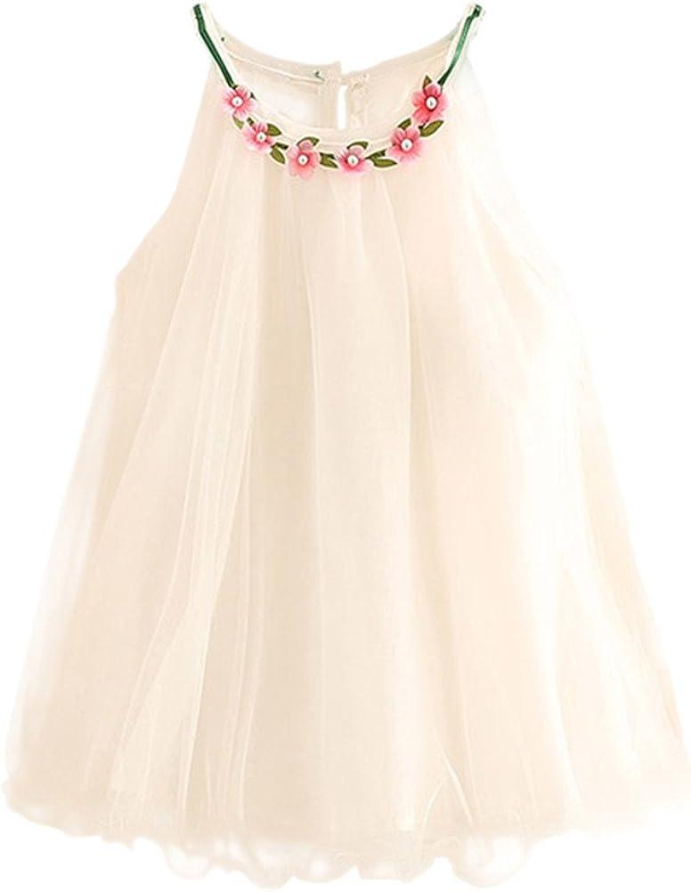 Mud Kingdom Girls Flower Collar Halter Dress 3T White