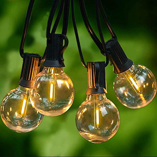 15 meters long outdoor light string, with 46 bulbs, outdoor light strings, waterproof IP45, E12 base, for the garden garden outdoor light string, warm white [A level energy +]