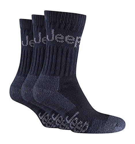 Jeep - 3 Pack Mens Thick Heavy Cushioned Padded Cotton Hiking Boot Crew Socks (Black)