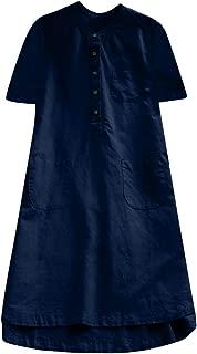 Loose Button Blouse Dress Women Retro Short Sleeve Casual Mini Shirt Dress