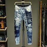 Woovitpl Hombres Pantalones Vaqueros empalmar Jean Homme Flaco Dril de algodón Jeans Rotos Hombres Ciclistas estiramientos Pantalones Slim Fit Pantalones cálidos Color de la Imagen China