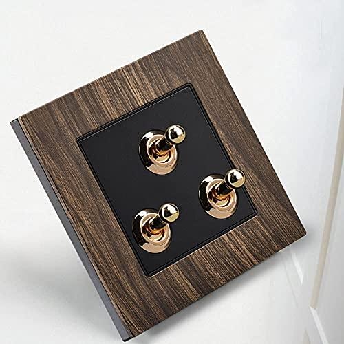 PJDOOJAE Interruptor de la luz de palanca Dual 1 forma de interruptor de madera Interruptor de madera Interruptor de madera Interruptor de palanca de latón Retro Panel de interruptores 86 Tipo de pare