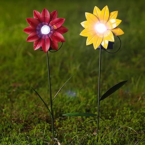 decorative garden stakes Metal Flowers Outdoor with Solar Light, 2 Pack 16 Inch Decorative Garden Stakes, Metal Sunflowers Daisy Glow in Dark, Metal Yard Art Garden Decor