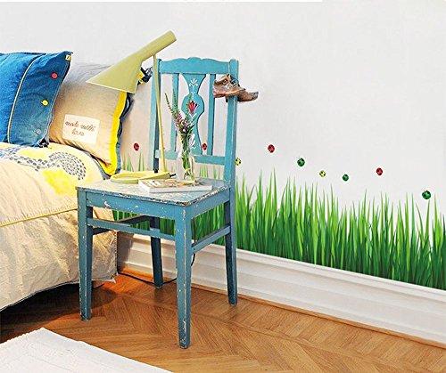 Ufengke® Grüne Garten Serie Grüne Gräser Wandabziehbilder,Wohnzimmer Schlafzimmer Baseboard Abnehmbar Wandaufkleber Wandbilder