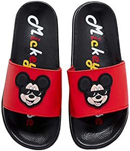 Disney Boys' Mickey Mouse Sandals - Slip-On Slides (Toddler/Little Kid/Big Kid), Size 9/10 Toddler, Mickey Mouse