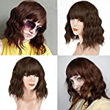 Synthetic Bob Wig 14 Inch Short Wavy Bob Wig with Bangs Light Brown for Women, Shoulder Length Wig Natural Looking Body Wave Cosplay Wig Colorful Costume Wig Heat Resistant Hair
