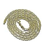 Cadena de Oro Amarillo de 18k de Oro Macizo para Hombre, de eslabones Combinados, 4mm de Grosor, 60cm de Larga Cierre mosquetón para máxima Seguridad Peso; 15.05gr de Oro de 18k