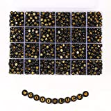 Song Xi 1720pcs Black Round Acrylic A-Z Alphabet Beads Gold Letter Beads 4x7mm Beads for Bracelets and Jewelry Making Key Chains