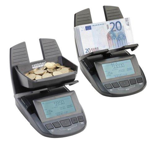 ratiotec Geldwaage RS 2000 schnelle Kassenabrechnung von Münzen und Banknoten - Geldzählmaschine Geldzähler Zählwaage Münzwaage schwarz