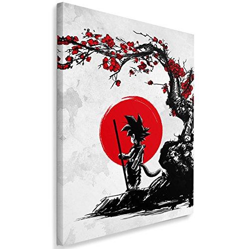 Feeby. Wandbild - 1 Teilig - 40x60 cm, Leinwand Bild Leinwandbilder Bilder Wandbilder Kunstdruck, Saiyan Under The Sun - DDJVigo, Anime, GRAU