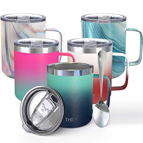 Stainless Steel Insulated Travel Mug - THILY 12 oz Vacuum Insulated Coffee Cup with Handle Spill-proof Lid Keep Coffee Cold or Hot Ombre Green Navy