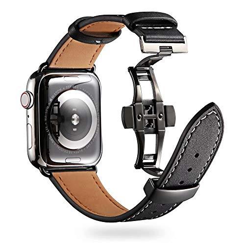 VeveXiao Compatible con Apple Watch Correa 44 mm 42 mm, cuero Smart Watch pulsera de repuesto para iWatch SE Series 6/5/4/3/2/1 (42/44 mm, hebilla negra).
