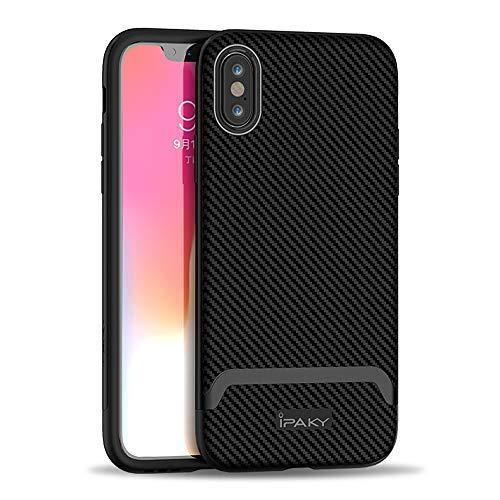 Ibrido Fibra di Carbonio Custodia Protettiva per iPhone XS / X, 5,8'' Antiurto Antipolvere Durevole Chiaro Slim Fit 2 in 1 PC TPU Shell Cover per iPhoneXS/X (Nero)