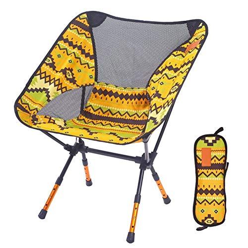 LIXIAOHONGG Plegable Sillas De Camping con La Bolsa Ligero Portátil Silla Luna Al Aire Libre Altura Ajustable La Pesca Asiento,4 Colores (Color : Yellow)
