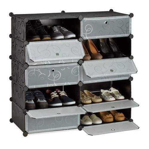 Relaxdays Schoenenkast met 10 vakken, groot schoenenrek, kunststof, doe-het-zelf, h x b x d ca. 90 x 94 x 37 cm, zwart