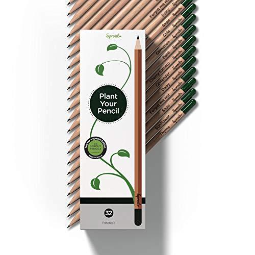 Edición especial para profesores: Lápices Sprout de grafito, con semillas cultivables, en madera respetuosa con el medio ambiente   Paquete de 32   Set de regalo con hierbas y flores